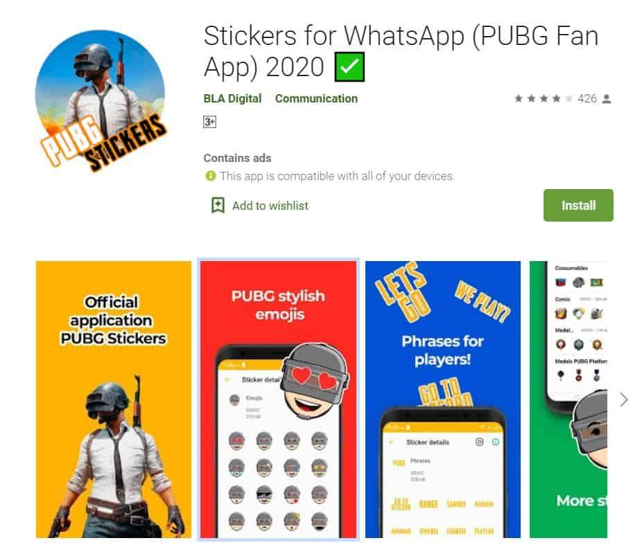 pubg sticker app